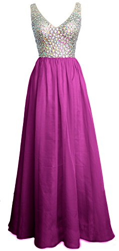 MACloth Women V Neck Crystal Long Prom Dress Cocktail Evening Party Gown Fuchsia