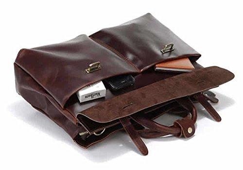 Everdoss Hommes sac à main en cuir véritable sac à bandoulière sac de messager sac de business sac d'ordinateur sac d'ordinateur brun foncé