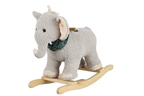 Sweety Toys 7110 Schaukeltier Schaukelpferd Elefant grau mit Halstuch mit Lullaby Musik