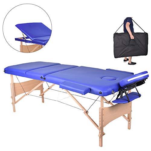 MC Star Massageliege 3 Zonen Holz Klappbar Tragbar Massagetisch Faltbar Leicht Deluxe Massage Bett Höhenverstellbar Spa Reiki Tattoo mit Armlehne Kopfstütze Tasche Blau -