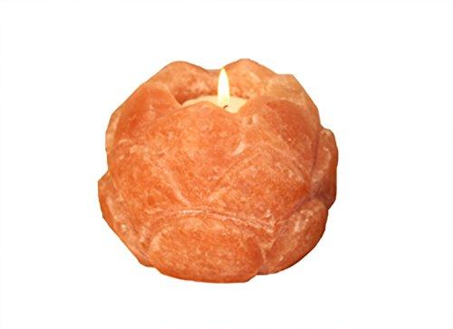 Himalaya salt dreams sale cristallo portacandela fiore di loto, cristallo di sale, arancione, 7x 7x 8cm