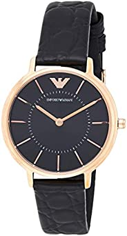 Emporio Armani Women's 'Dress Quartz Stainless Steel and Leather Casual Watch, Black (Ar11064), Analog