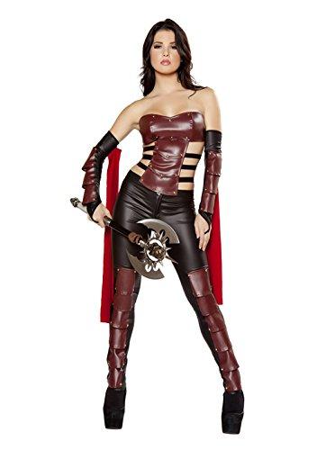 Das Gute Leben Damen Xena Krieger/Kämpfer Römische Göttin Kunstleder Kostüm Top Hose und Arm-Hülsen Größe 36-38 (Xena Krieger Kostüme)