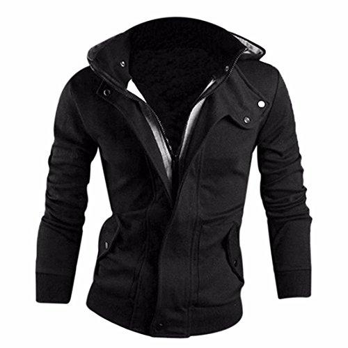 Men's Long Sleeve Zipper Warm Leisure Sweatshirt Black