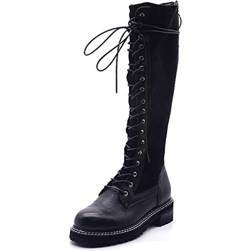 Damenstiefel Frauen Lace Up Zip Casual Outdoor Winter Herbst lange Stiefel Leder Martin High Boot Wohnungen Kalb Military Wanderschuhe schwarze Schuhe,Black- 4UK/35EU -