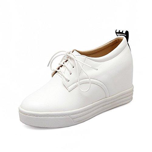 AllhqFashion Femme Lacet Rond à Talon Haut Pu Cuir Couleur Unie Chaussures Légeres Blanc