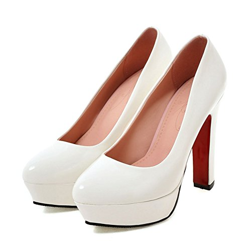 Damens Pumps Volltonfarbe High-Heel Stiletto Rutsch mit Plateau Weiß