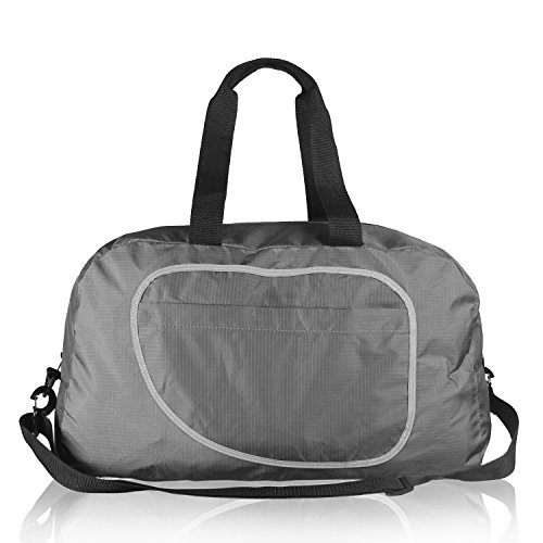 Teamoy Duffle Tasche, Sporttasche für PE Kits, Schwimmen Gear, Sport-Stuff, Reise Essentials und vieles mehr - leicht, faltbar in sich selbst, große Kapazitäten & Wasser beständig, perfekt über Nacht Tasche, Grau (Frauen Mini-rucksack Für Jansport)