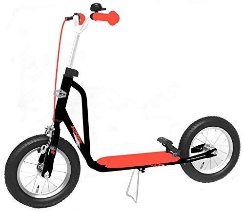 Volare Kinderroller 12 Zoll Schwarz-Rot - Tretroller mit Klingel, Felgen- und Fußbremse