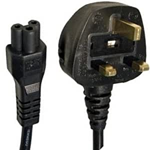 2m C5 Clover Type Power Cable ~ UK 3-Pin Plug ~ Cloverleaf ~ Mickey Mouse Laptop / Notebook / Netbook Power Adapter ~ Lead ~ Mains ~ IEC ~