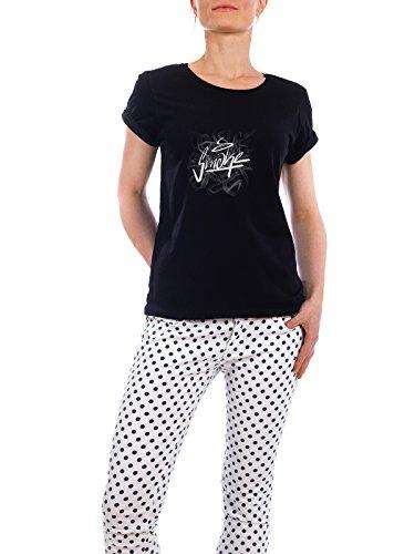"""Design T-Shirt Frauen Earth Positive """"Smoke."""" - stylisches Shirt Comic Menschen Streetart von Jannis Förster Schwarz"""