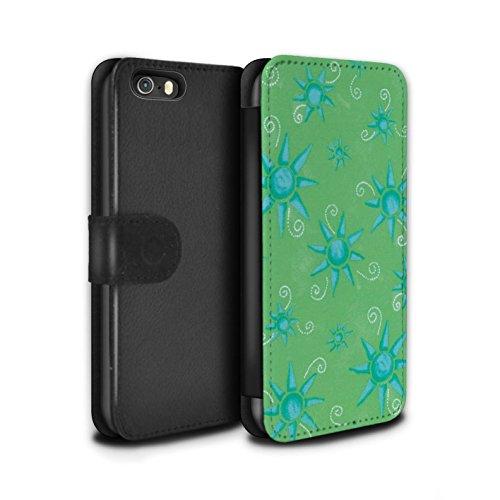 Stuff4 Coque/Etui/Housse Cuir PU Case/Cover pour Apple iPhone SE / Pack (14 pcs) Design / Motif Soleil Collection Vert/Bleu
