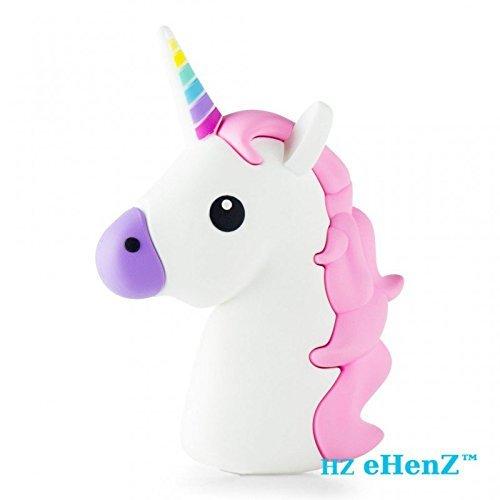eHenZ® 3300mAh Externe Ersatzbatterie White Unicorn PINK 135GRS, 5V, mitgelieferte Tasche, 2 Kabel 2A USB 1-Kabel kompatibles Android, 1 Kabel kompatibles für iPhone (3300 MAH, White PINK)