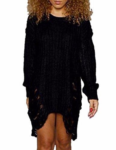 EMMA Damen Herbst Winter Filthy Oversized Grob Stricken Lang Pullover Destroyed Loch Zerrissen Schlüsselloch Pullover Kleid Baggy Loose Weit Sweatshirt Langarmshirt Winter Strickjacke Kleider(BL,XL)