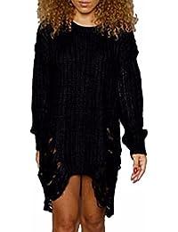 Damen Distressed Zerrissen langärmeliges T-Shirt Locker Rundhals punk hippie