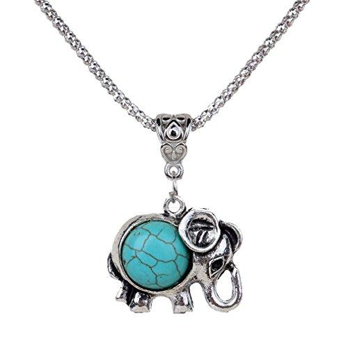 YAZILIND collar encantador Tibet Elefante Forma regalo de la joyería de la cadena redonda Rimous colgante turquesa