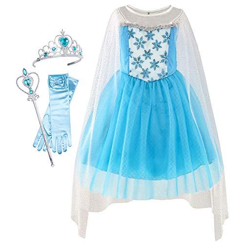 Sunboree Mädchen Kleid ELSA Prinzessin Kleid Oben Zubehör Krone Zauber Zauberstab Gr. 92