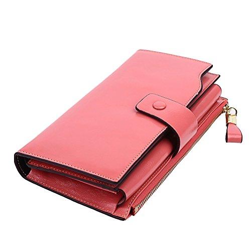 GDTK Women's Large Capacity Luxury Wax Genuine Leather Purse Wallet (Pink RFID Blocking)