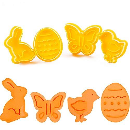 ElecMotive 4 teiliges Easter Ostermotive Ostern Cookie Cutters Plätzchenformen Backformen Fondant Keks Ausstechformen Set mit Auswerfer Farbe zufällig gesendet in Geschenkkarton (J)