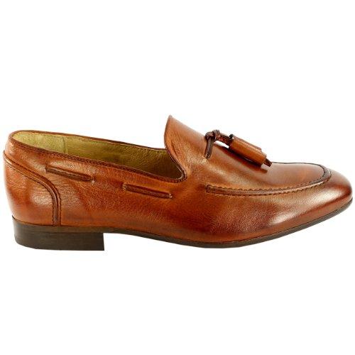 Herren H By Husdon Pierre Flache Tassle Müßiggänger Halbschuhe Schuhe Schlüpfen-Auf Bräune