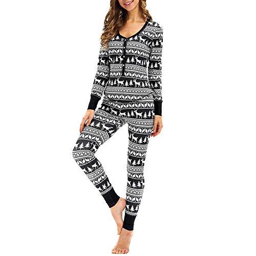 Dorical Sleepwear Damen Weihnachtsanzug langärmelige Warm Zweiteilige Schlafanzüge mit Knöpfen,Frauen Passende Elch Lange Ärmel Weihnachten Pyjamas Set Top Bluse + Hose(Schwarz,Medium)