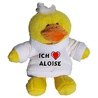 Plüsch Hähnchen Schlüsselhalter mit einem T-shirt mit Aufschrift mit Ich liebe Aloise (Vorname/Zuname/Spitzname)