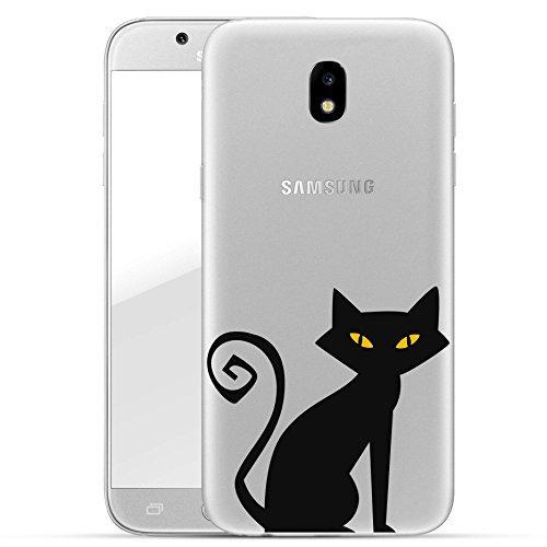 (Finoo Samsung Galaxy J3 2017 Hard Case Handy-Hülle Halloween Motiv | dünne stoßfeste Schutz-Cover Tasche mit lizensiertem Muster | Premium Case für Dein Smartphone| Schwarze Katze)