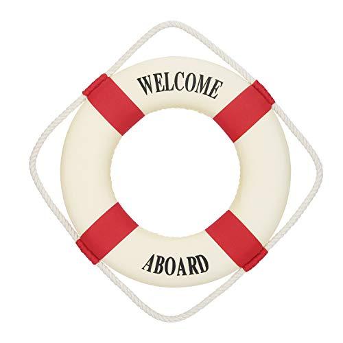 YESURPRISE Maritime Deko Rettungsring Maritim Dekoration Meer Fischernetz Deko Schwimmring 45cm(Rot-Weiß)