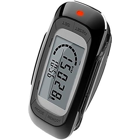 MAYMOC multifuncional 3D Podómetro con Clip y correa - contador de pasos precisos, millas de distancia y Km, contador de calorías, memoria de 7 días, diario objetivo progreso Monitor, tiempo, garantía de 12 meses del