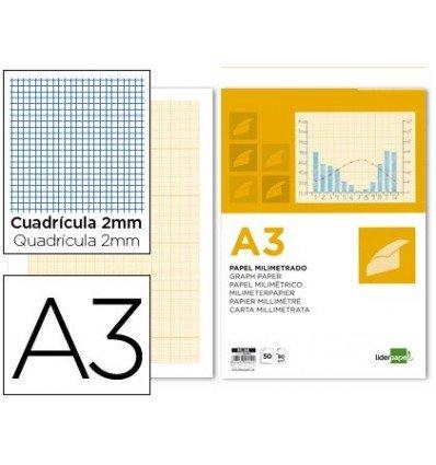 Liderpapel - Bloc papel milimetrado encolado 297x420mm 50 hojas 80g/m2