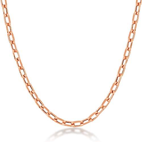 Gelin Ohne Halskette 14 Karat / 585 Rotgold Erbskette Gold mit Federring Verschluß, Rosegold - Breite 2mm - 1.6 Gr - Länge 45cm, 585er Gold