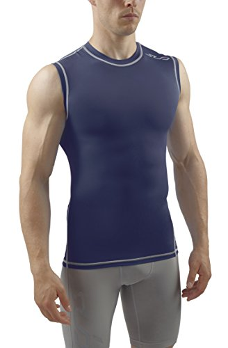 Feuchtigkeit Wicking Ärmellos (Sub Sports Herren Dual Kompressionsshirt Funktionswäsche Base Layer Ärmellos, Navy, XXL)