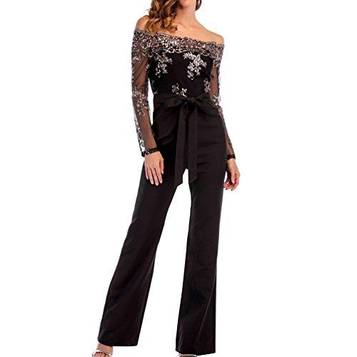 23ac78d8a29a LINNUO Combinaison Femme Jumpsuit Paillettes épaule Off Playsuit de Soirée  Cocktail Party Romper Clubwear Pantalon (
