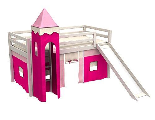 Cama juego,cama niños,de alta,cama tobogan,torre,cortinas,colchón,muchos