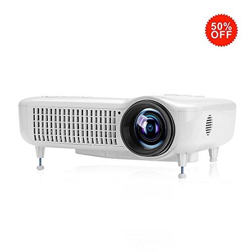 LCD Beamer Heimkino Exquizon 5018D Projektor mit 3000 Lumen 1280x800 Pixel unterstützt 1080P TV/ HDMI/ USB/ VGA/ SD/ AV Theater Unterhaltung Film Spiel Weihnachten Party Projektor für zu Hause Laptop - 1080p Laser-projektor