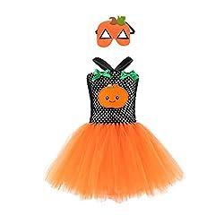 Yanhoo Karneval Kinder Halloween Kostüm Top Set Baby Kleidung Set Kleinkind Kürbis Geist Print Kleider Kostüm Cosplay Tutu Kleid Party + Maske Outfits Set