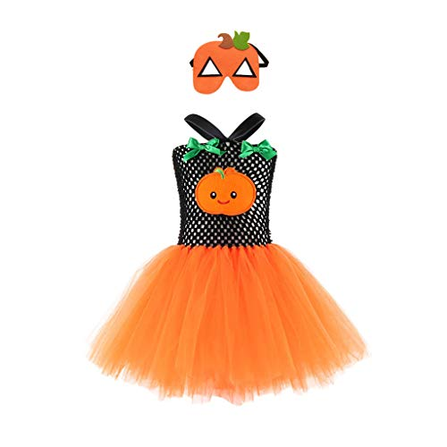 Für Vogelscheuche Kleinkind Kostüm - Battnot Halloween Kostüm für Mädchen Kleinkind Kinder Baby-Karikatur Kürbis Hexe Cosplay Tutu Kleid+Maske Outfits Set Party Kleidung Prinzessin Dress 12-24 Monate 2 3 4 5 7 8 9 10 11 12 Jahre