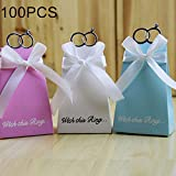 Liunghy Greeting cards, balloons, gift wrapping, party dec Sell well 100 PCS European Wedding Diamond Ring Sugar Box, Size: 10 * 6.2 * 4.8cm