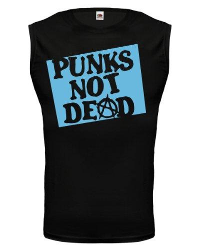 buXsbaum® Tank Top Punks not dead Black-Skyblue