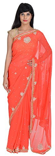 tanishq-designers-womens-georgette-saree-orange