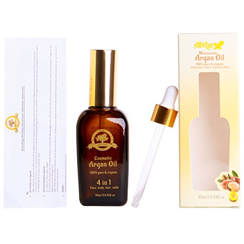 All4Lux Huile d'Argan / Huile D'Argan 100% BIO & Artisanale du Maroc, Pressée à Froid et certifié par Vegan society & BAV Institute for Hygiene and Quality Assurance, Huile d'haute qualité (95ml)
