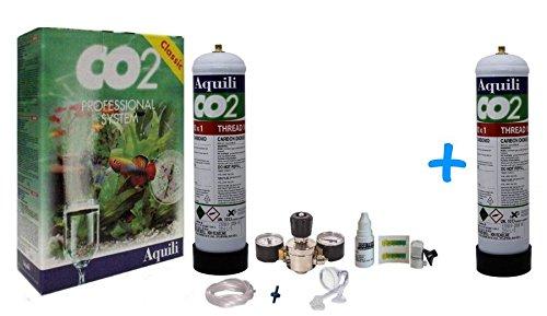 Aquili Co2 Professional System - Impianto per anidride carbonica completo (con due bombole di ricambio)
