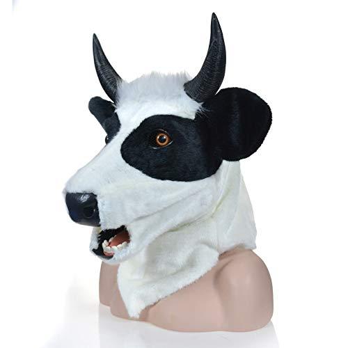 Xiangshan-lustiger Hut Gelbe Kuh-Maske Realistische Tier-bewegliche Mund-Maske Tierkarnevals-Masken-Plüsch-Maske (Color : Black)