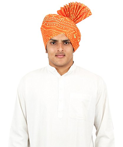 eKolhapuri Traditional Khadi Print Roto Jari Orange Pheta (Turban / Safa /...