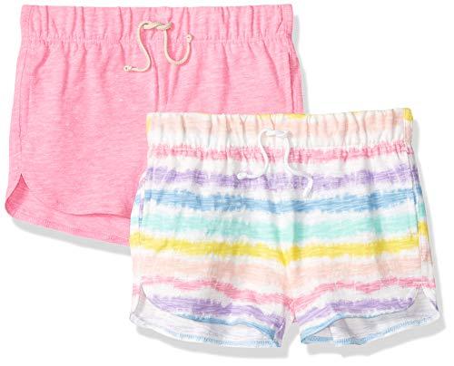 Spotted Zebra 2-Pack Knit Dolphin Hem shorts, Tie Dye Stripe/Pink, X-Small (4-5), 2er -
