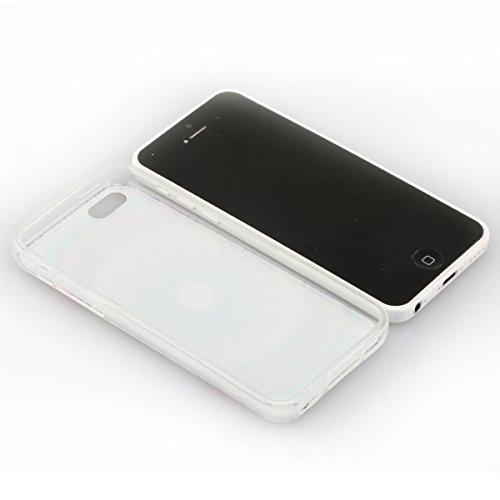 Etche TPU Housse pour iPhone 5C,Étui Coque Housse Pour iPhone 5C,coloré imprimé couvercle du boîtier de caoutchouc de silicone pour iPhone 5C + 1x Bleu style + 1x Bling poussière plug (couleurs aléato Pattern #37