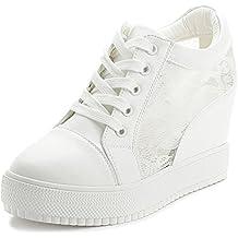 38ddf42b091a SOIXANTE Chaussure Mode Baskets Dentelle Femme Sneaker Talon Compensé ...