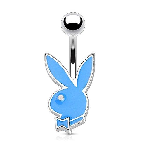 Offizielle lizenzierte Playboy-Enamel Blue Bunny und Bow-Tie Tragus oder Knorpel Piercing Dicke: 1.2mm Länge: 6mm Ball Größe: 4mm Material: Chirurgische (Blue Kostüme Bunny)
