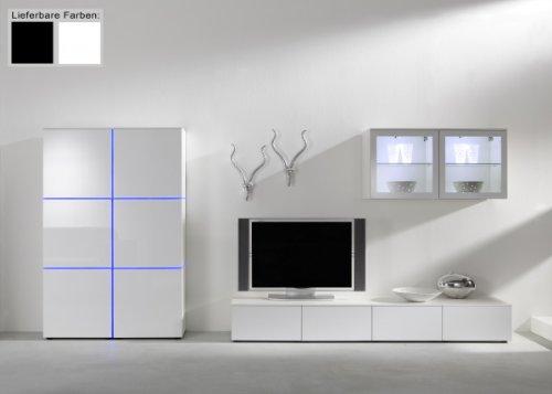 Dreams4Home Wohnwand Square Anbauwand Schrankwand weiß o schwarz hochglanz opt LED-RGB-Beleuchtung, Beleuchtung:mit Beleuchtung;Farbe:Weiß