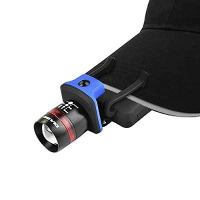 Cap Hut Licht, Idealeben wasserdichte 3 Modi CREE LED Handlampe Taschenlampen Verstellbare Zoomable Kopflampe Stirnlampe für Visier Baseballmützen für Hobby Camping Wandern Draußen Arbeiten